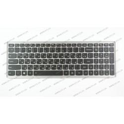 Клавиатура для ноутбука LENOVO (Flex 15, Flex 15D, G500s, G505s, S510p) rus, black, silver frame, подсветка клавиш