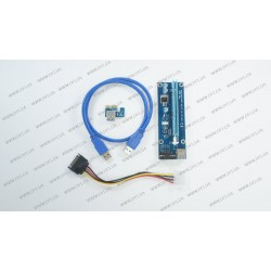 Райзер riser PCI-Ex x1 to x16, питание от Molex 4pin, Version 006, USB, 0.6m, BLUE (PCE164P-N03), майнинг