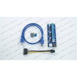 Райзер riser PCI-Ex x1 to x16, питание от Video PSU 6pin, Version 006C, USB, 0.6m, BLUE, майнинг