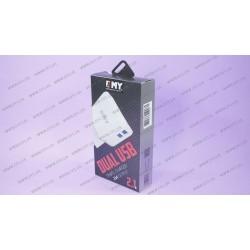Зарядное устройство EMY MY-256 , 2USB 2.1A , белый + microUSB кабель
