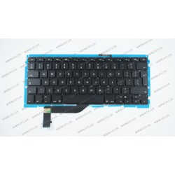 Клавиатура для ноутбука APPLE (MacBook Pro Retina: A1398 (2012-2015)) eng, black, подсветка клавиш, BIG Enter