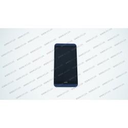 Модуль матрица + тачскрин  для HTC Desire 816, Desire 816w, с рамкой, blue (желтый шлейф)