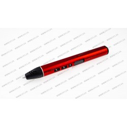 3D ручка DFI модель G3R (металлический корпус, сопло 0.6мм, PCL, PLA пластик 1.75мм, цифровой дисплей с регулировкой температуры до 1 градуса (диапазон 70-180 градусов), цифровая регулировка скорости подачи, вес 48 грамм), цвет красный