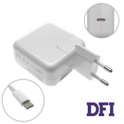 Блок питания для ноутбука APPLE USB-C 30W (20V/1.5A, 15V/2A, 9V/3A, 5V/3A), Type-C, USB3.1, White (с кабелем!) (A1882)