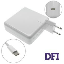 Блок питания для ноутбука APPLE USB-C 87W (20.3V/4.3A, 14.5V/2A, 9V/3A, 5.2V/2.4A), Type-C, USB3.1, White (с кабелем!) (A1718, A1706, A1708)