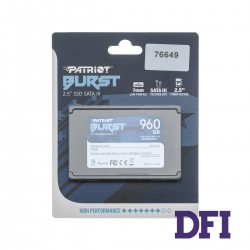 Жесткий диск 2.5 SSD  960Gb Patriot Burst Series, PBU960GS25SSDR, 3D TLC, SATA-III 6Gb/s, зап/чт. - 540/560мб/с