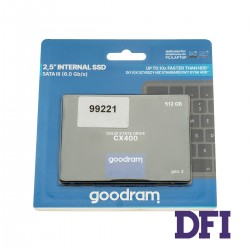 Жесткий диск 2.5 SSD  512Gb Goodram CX400 Gen.2 Series (SSDPR-CX400-512-G2), 3D NAND TLC, SATA-III 6Gb/s Rev3.0,  зап/чт. - 500/550мб/с