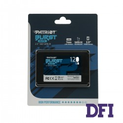Жесткий диск 2.5 SSD  120Gb Patriot Burst Elite Series, PBE120GS25SSDR, 3D QLC, SATA-III 6Gb/s, зап/чт. - 320/450мб/с