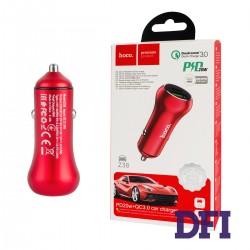 Автомобильное зарядное устройство Hoco Z38 PD20W+QC3.0, 1USB, 3.0A, Красный