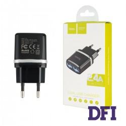 Зарядное устройство Hoco C12 , 2USB 2.4A , черный