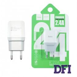 Зарядное устройство Hoco C22A , USB 2.4A , белый