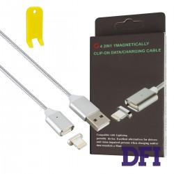 Кабель Clip-On Метал Lightning для iPhone 5 / 5s / 6 / 6 Plus , iPad Air 2 , серый (магнитный)
