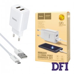 Зарядное устройство Hoco C62A, 2USB, Micro USB, 3,4А , белый