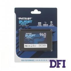 Жесткий диск 2.5 SSD  960Gb Patriot Burst Elite Series, PBE960GS25SSDR, 3D QLC, SATA-III 6Gb/s, зап/чт. - 320/450мб/с